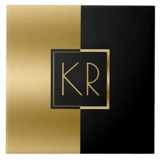 Ouro geométrico liso & design moderno preto