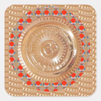 OURO gravado símbolo da mantra n OmMantra de Adesivo Quadrado