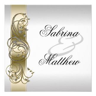 Ouro Invitiation Wedding formal ornamentado de pra Convite Personalizados