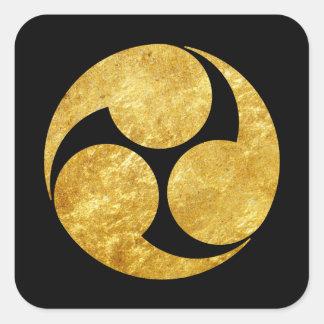 Ouro japonês do falso do clã de Kobayakawa Adesivo Quadrado