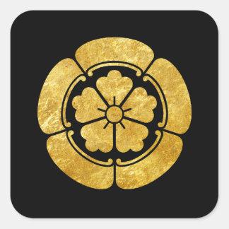 Ouro japonês do falso do clã do samurai do Oda Adesivo Quadrado