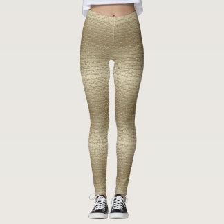 Ouro legal caneleiras textured legging
