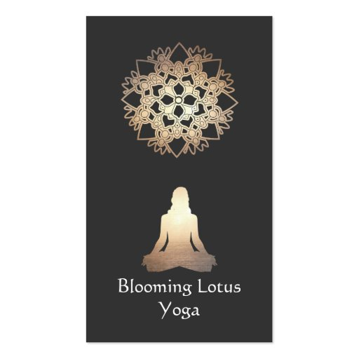 Ouro Lotus da pose da meditação do professor da io Modelo Cartão De Visita