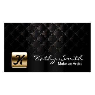 Ouro luxuoso & cartão de visita preto do maquilhad