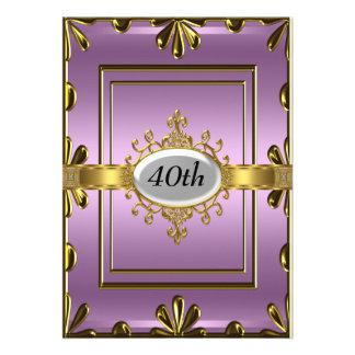 Ouro malva do convite de aniversário do Lilac