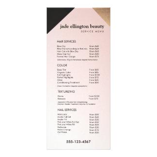 Ouro, menu cor-de-rosa do serviço da tabela de 10.16 x 22.86cm panfleto