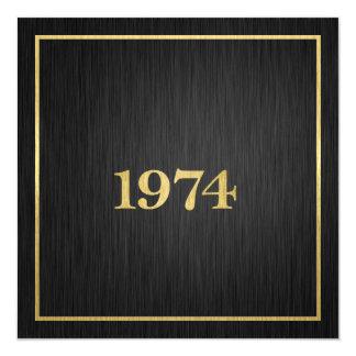 Ouro metálico elegante 1974 convite