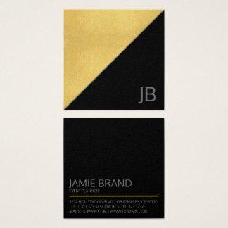 Ouro moderno do falso e monograma preto cartão de visitas quadrado