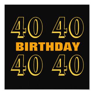 Ouro moderno do partido de aniversário de 40 anos convite quadrado 13.35 x 13.35cm