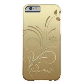 Ouro no caso floral do iPhone 6 do monograma dos Capa Barely There Para iPhone 6