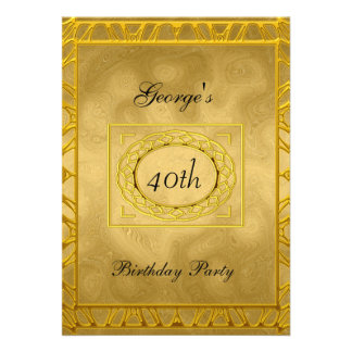 Ouro no convite de aniversário do ouro