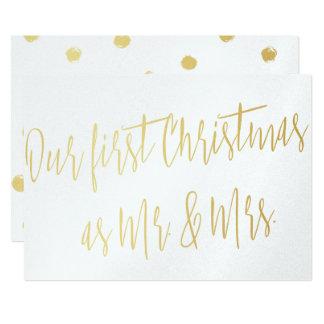 """Ouro """"nosso primeiro Natal como o Sr. & a Sra. """" Convite 12.7 X 17.78cm"""