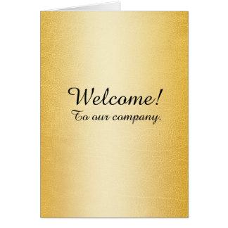 Ouro novo do falso da boa vinda do empregado cartão comemorativo