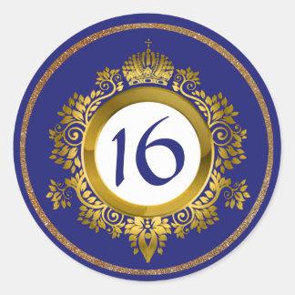 Ouro ornamentado e doce azul 16 etiquetas do