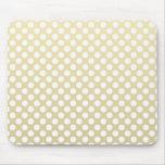 Ouro pálido e bolinhas brancas mouse pads