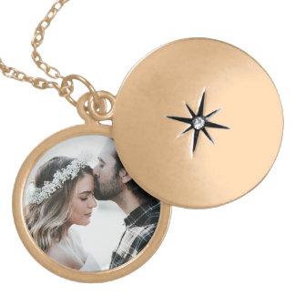 Ouro personalizado da colar do encanto da foto