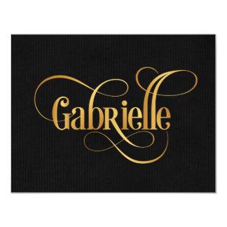 Ouro personalizado de Gabrielle do roteiro de Convite 10.79 X 13.97cm