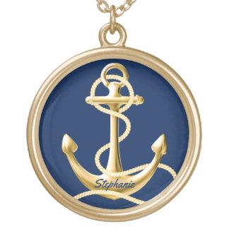 Ouro personalizado dos azuis marinhos da colar da