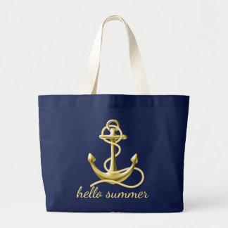 Ouro personalizado dos azuis marinhos da sacola da bolsa tote grande