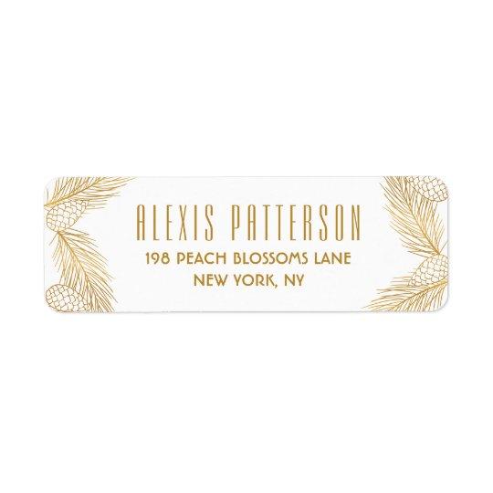 Ouro Pinecones e etiqueta do feriado das agulhas Etiqueta Endereço De Retorno