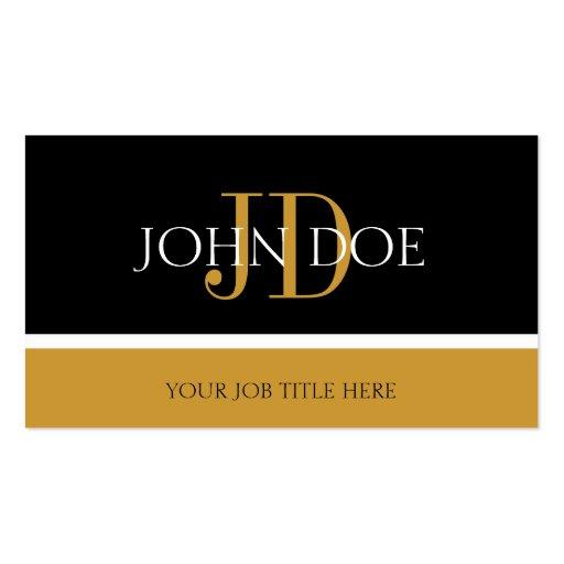 Ouro preto/amarelo do monograma de YourJobTitle Cartões De Visitas