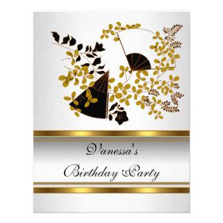 Ouro preto branco floral da festa de aniversário convite