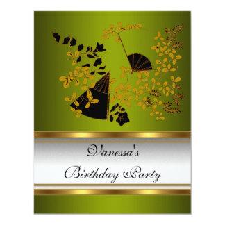 Ouro preto branco verde floral da festa de convite 10.79 x 13.97cm