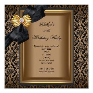 Ouro preto do café do damasco da bolsa convite quadrado 13.35 x 13.35cm