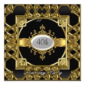 Ouro preto do preto do convite de aniversário do