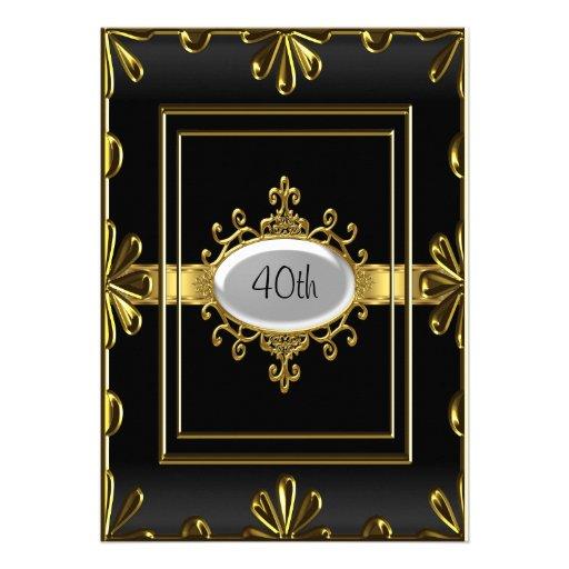Ouro preto do preto do convite de aniversário do o