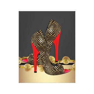Ouro preto e calçados vermelhos do salto alto da z impressão em tela