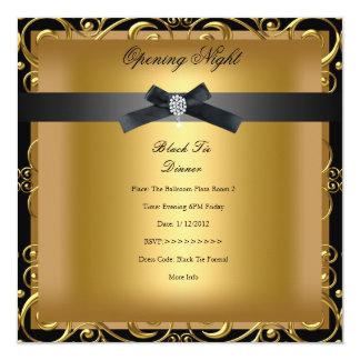 Ouro preto formal da empresa da abertura convite quadrado 13.35 x 13.35cm