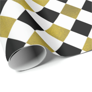 Ouro, preto, + Papel de embrulho Checkered do