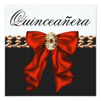 Ouro Quinceanera branco preto vermelho Convites