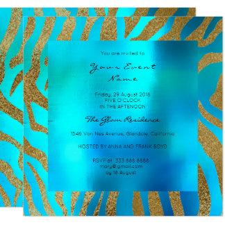 Ouro selvagem do azul de oceano da pele animal do convite quadrado 13.35 x 13.35cm