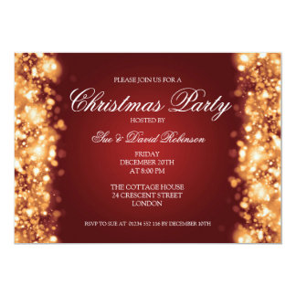 Ouro Sparkling das luzes da festa de Natal Convite Personalizado