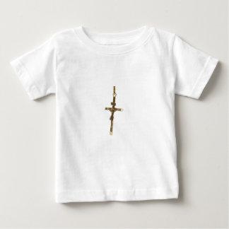Ouro transversal do Jesus Cristo horizontal Camiseta Para Bebê