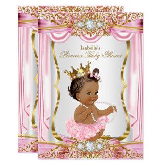 Ouro triguenho da seda do rosa da princesa chá de convite 12.7 x 17.78cm