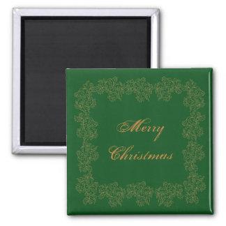 Ouro verde decorativo do Feliz Natal Ímã Quadrado