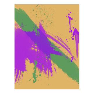 Ouro verde roxo da pintura das aguarelas da arte cartão postal