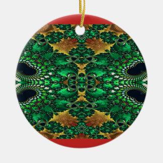 Ouro vermelho e ornamento decorativo verde do