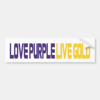 Ouro vivo do roxo do amor adesivo para carro