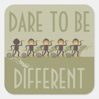 Ouse ser diferente, macacos, safari adesivo quadrado