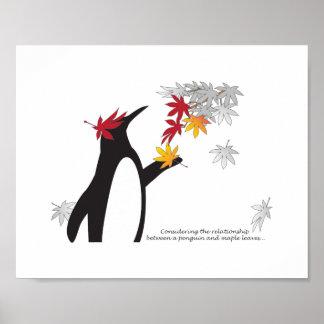 Outono das citações do pinguim e das folhas de poster