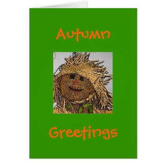Outono, design do Cartão-Espantalho dos cumpriment