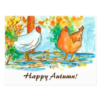 Outono feliz das galinhas da aguarela cartão postal