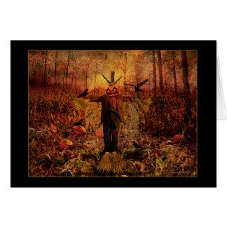 Outono feliz - espantalho da colheita cartão comemorativo