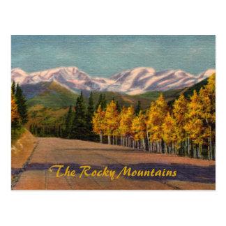Outono no cartão do vintage de Montanhas Rochosas
