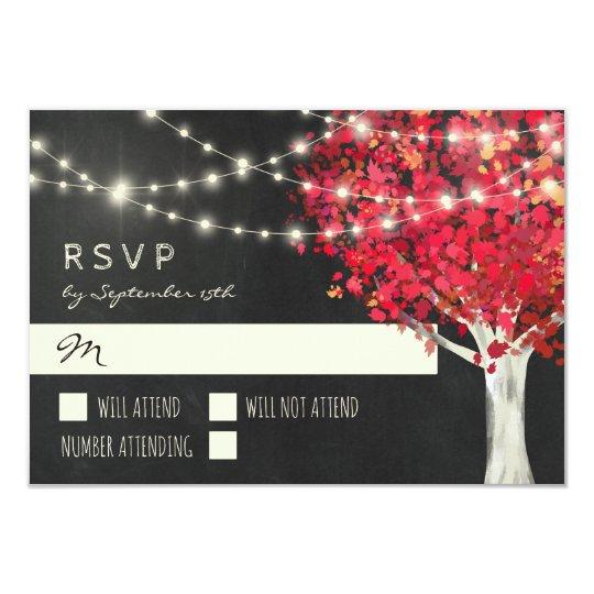Outono vermelho das luzes da árvore & da corda que convite 8.89 x 12.7cm