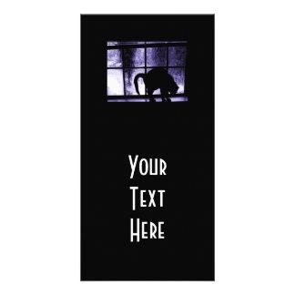 Outubro rega a silhueta do gato no índigo da janel cartoes com foto